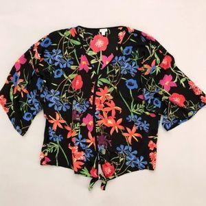 Spense Floral Tie Front Top Black XL
